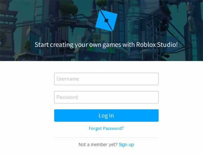 login to roblox studio or sign up