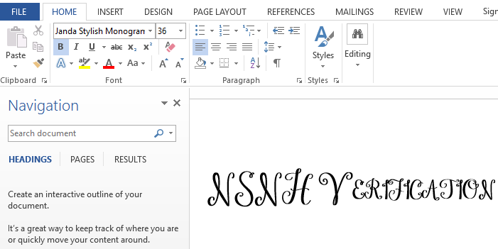 start using monogram font