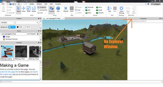 how to open explorer in roblox studio?